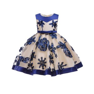 Free Shipping Knee Length 3-10 Years Kids Party 2019 New Design Patchwork Blue Flower Girl Dresses Pageant Children Evening Gown