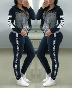 Wholesale Women Letter Tracksuits Love Pink Plus Size two piece girls sportswear Hoodie long Pants Trousers Spring Autumn Casual Clothes Suit