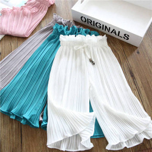 girls chiffon summer casual pantsGirls wide leg pants summer clothes nine points mosquito pants little kids clothing summer casual trousers on Sale