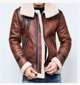 Wholesale New Warm Winter Lambswool Warm Flight jacket Mens Leather Jacket Fleece Thick Plus Size Clothing Coats Long Sleeved Outwears Clothing