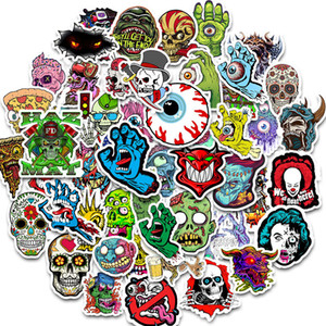 50pcs Waterproof Laptop Skull Horrible Stickers Graffiti Patches Stickers Car Stickers and Decals Motorcycle Bicycle Luggage Skateboard
