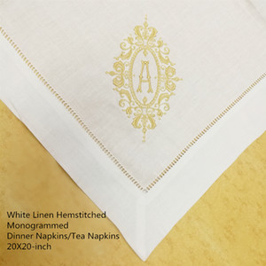 Set of 12 Fshion Monogrammed Dinner Napkins white linen Hemstitched Table Napkins 20x20-inch Tea Napkins