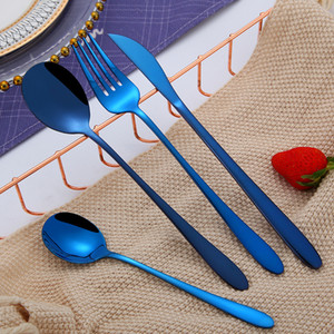 Wholesale 4Pcs Set Stainless Steel Cutlery Dinnerware Set Knife Fork Spoon Teaspoon Flatware Sets Gold Rose Gold Black Blue
