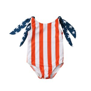 4th Of July Children American flag Swimwear 2019 summer Bathing Suit baby Bikinis Kids One Pieces Star stripe print Swimsuit C6569