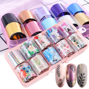 Wholesale Nail Art Foil Sticker Set Laser Star Floral Design Transfer Paper Nails Decal Tips Nail Art Decorations RRA2340