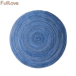 Wholesale table placemat sets for sale - Group buy FullLove Set New Ramie Fabric Round Placemat Coasters Kitchen Table Mat Insulation Coffee Mug Pads Home Textile