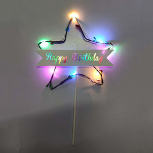 Wholesale Flag Cake Topper Light Star Shape Colorful Cupcake Happy Birthday Led Gift Party Supplies Table Glitter Dessert Decoration DIY