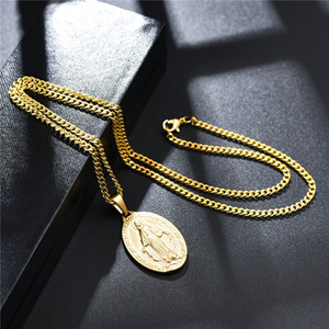 Wholesale pendant gold men for sale - Group buy 18K Gold Plated Charm Mens Women Virgin Mary Pendant Necklaces Fashion Hip Hop Jewelry cm long Alloy Stainless Steel Link Chain Designer Necklace For Men Gift