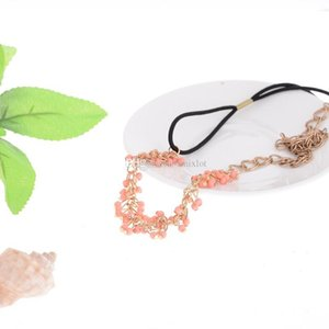 Wholesale 10Pcs Fashion Women Bridal Party Jewelry Hair Accessories Indian Style Lady Red Beaded Alloy Hair Band Headband Chain