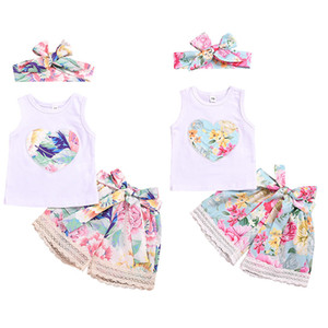 Wholesale kids designer clothes girls outfits children Heart top Lace floral shorts with headband set Summer baby Clothing Sets color C6511