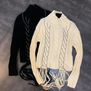 2019 autumn new long-sleeved woven twist drill strip decorative fringed sweater