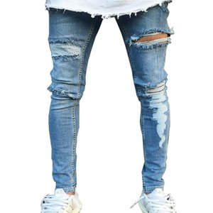 Wholesale 2018 Street Distressed Jeans Men Destroyed Knee Design Cotton Jeans Homme Casual Hip Hop ripped jeans men Skinny Pants 3XL