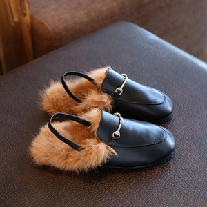 Wholesale 2018 Winter New Children s Shoes Casual Rabbit Hair Baby s Leather Shoes Slippers Fashion Princess Boys Girls Behalf Warm Flats