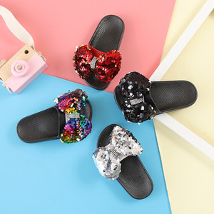 Wholesale 2019 Girls Rhinestone Bow-knot Summer Slipper with soft thick bottom, Kids Lovely Glitter Shoes, Red, Silver, Black, Multi-color