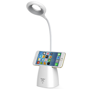 Wholesale Usb LED Rechargeable Touch Reading Desk Lamp with Pen Holder Eye Protection Bedside White Table Lamps Living Room Modern Light
