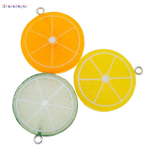GraceAngie 6pcs Resin Fruit Lemon Slice Pendant Green Orange Flatback Cabochon Keychain Decor Phone Case Hanging DIY Accessory