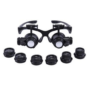 Wholesale Magnifier Magnifying Glasses Watch Repair X X X Dual Eye Jewelry With LED Lights Loupe Lens for dental applications