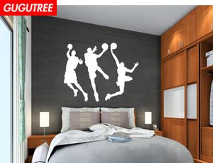 Wholesale Decorate Home basketball cartoon art wall sticker decoration Decals mural painting Removable Decor Wallpaper G-1898
