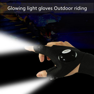 Wholesale Led Glove Flashlight Luminous Fishing Gloves Breathable Outdoor Lighting Luminous Gloves Finger Light Glowing Gloves running Riding