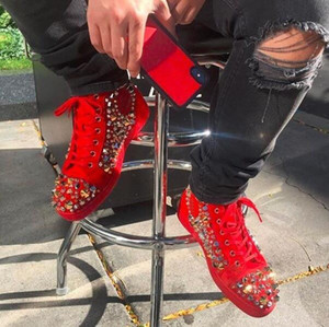 Wholesale High Quality Red Suede Mix Spikes High Top Red Bottom Sneakers Shoes For Women Men Famous Brand Casual Walking Party Wedding With Box