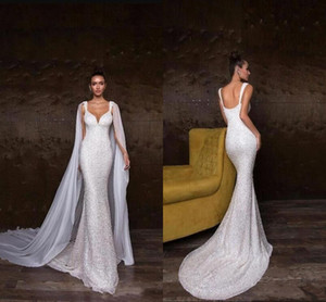 Wholesale bridal tulle shawl resale online - Elegant Sparkly Sequined Mermaid Wedding Dresses With Shawls Sexy Beaded Open Back Sweep Train Beach Bohemian Bridal Gown BC2235