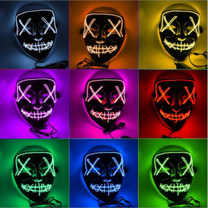 Wholesale Holiday gift Halloween El Wire Mask Cold Light Line Party Ghost LED Light Mask Party Horror Glowing Dance Masks Free DHL