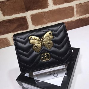 Wholesale 2019 Top Quality Celebrity design Letter Metal Buckle V shaped Wallet Butterfly insect Card Back Cowhide Leather Purse Clutch
