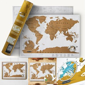 Wholesale For Wall Deluxe Black Scratch Off Home Office School Decoration Poster Journal Log Giant Map Of The World Stickers
