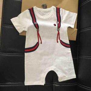 Wholesale newborn boy clothes summer white short sleeve brand pattern kids boy romper ins bag print desiign children boy clothes