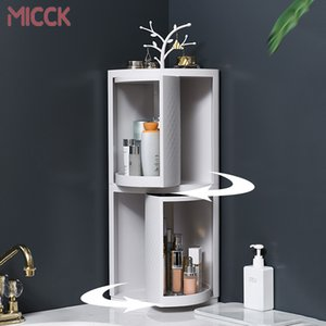 MICCK New Plastic 360 Rotating Bathroom Kitchen Storage Rack Organizer Shower Shelf Kitchen Tray Holder Washing Shower Organizer T200319