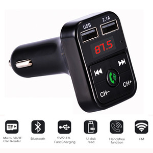 Wholesale FM Transmitter Aux Modulator Bluetooth Handsfree Car Kit Car Audio MP3 Player with A Quick Charge Dual USB Car Charger