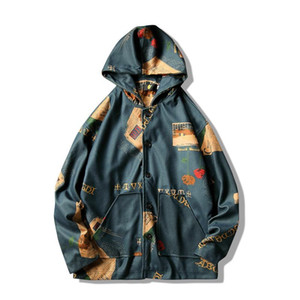 Wholesale Ins Hooded Bomber Jackets Men Mens Streetwear Funny Print Windbreaker Male Korean Fashion Autumn Jackets Coats Size S XL