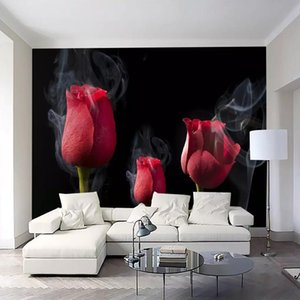 Wholesale 3d three-dimensional minimalist modern romantic smoke red rose TV background wall sofa background wall living room background wallpaper