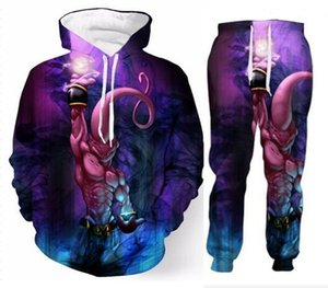 Wholesale Fashion Clothes Men Womens Painted Dragon Ball Z Majin Buu D Print Fashion Tracksuits Crewneck Sweatshirt and Pants Set Hoodies