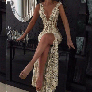 2019 Champagne Sexy Plunging V Neck Tight High Split Evening Dresses Full Lace Side Cutaway Backless Prom Dress Beaded Party Gowns Maxi Wesr