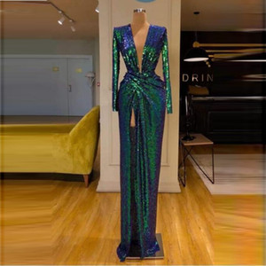 Wholesale Green Sequined Sheath Prom Dresses Long Sleeves Deep V Neck Front Split Evening Dress Cocktail Party Gowns Single Color No Discoloration