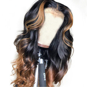 Wholesale Brazilian Loose Deep Lace Front Human Hair Wigs PrePlucked Honey Blonde Remy Ombre Color Glueless Full Lace Wig With Highlight