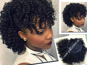 Wholesale ponytail bangs resale online - Brazilian hair afro puff curly hair drawstring ponytail with fringe ponytail with bang afro bun hairpieceafro puff kinki black hair g