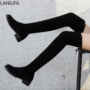 Wholesale winter Autumn Women Over The Knee snow Boots women Lace Up low Heels dress Thigh High Boots shoes Winter women Boots mujer