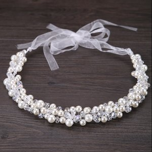 Wholesale headband Bride Decoration Women Pearl Beads Headbands jewelry Indian Beaded Head Piece Wedding Head Chain Hair