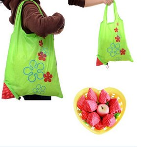 Wholesale 2018 New Large Nylon Reusable Folding Strawberry Eco Grocery Bag Retail Shopping Tote Bag Shopping Bags