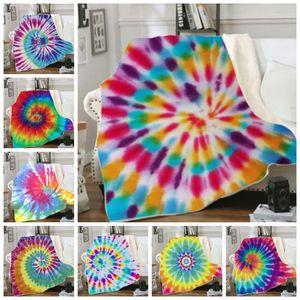 Throw Blankets Tie Dye Sherpa Blanket Kids Girl Boy Quilt Soft Plush Couch Bedspreads Bedding Supplies 10 Designs Optional DW4345
