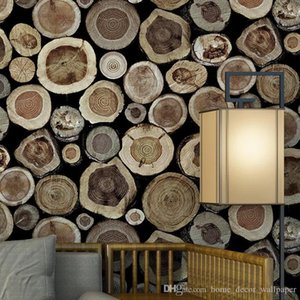 3D Stereo Features Round Wood Stakes Waterproof Wallpapers Restaurant Tea House Essence Background Wooden Wallpapers for Walls on Sale