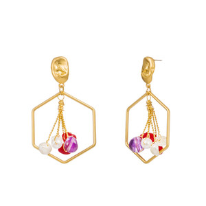 Wholesale Women Earrings K Gold Plated Square Natural Red Coral Earring Ear Hooks Colorful Purple Stone Earring Personality Freshwater Pearl Jewelry