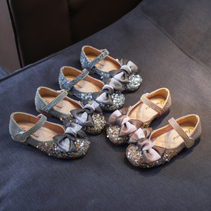 Wholesale 2019 New Style women shoes shallow mouth princess shoes Crystal sequin bow little girl baby