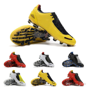Wholesale 2019 New Arrival Mens Total Laser I SE FG Football Shoes Top Quality Black Yellow Athletic Fashion Soccer Cleats Fast Shipping Size