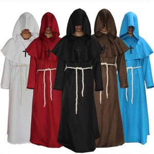 Wholesale Monk Hooded Robes Cloak Cape Friar Medieval Renaissance Priest Men Robe Clothes Halloween Comic Con Party Cosplay Costume Priest Costume