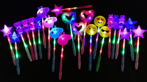 Wholesale LED flashing light up sticks glowing rose star heart magic wands party night activities Concert carnivals Props birthday Favor kids toys