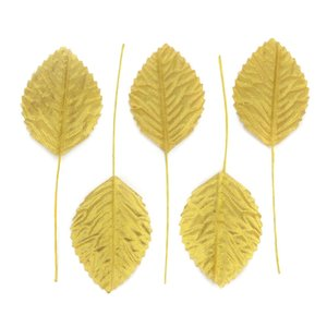 Wholesale 36pcs cm Nylon Silk Leaf Gold Leaves Artificial Flower For Wedding Decoration DIY Wreath Gift Scrapbooking Craft Fake Flower