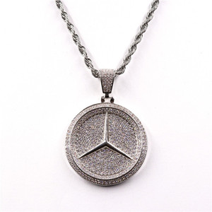 Wholesale Luxury Designer Jewelry Iced Out Cubic Zircon Brand Car Logo TRAP Pendant Necklace Chram Hip Hop Bling
